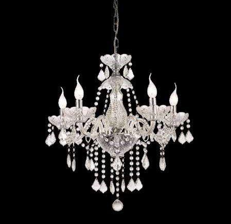 Lustre Candelabro Maly Cristal Transparente 5 Braços 82x60cm Mantra 5 E14 40W Bivolt 30419 Salas e Entradas
