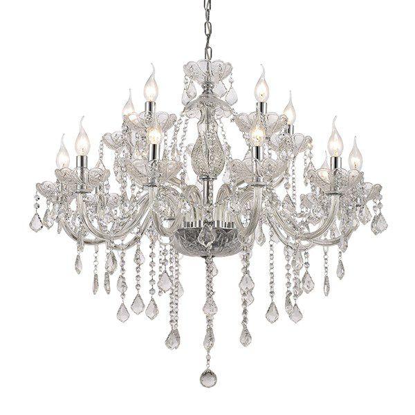 Lustre Candelabro Maly Cristal Transparente 15 Braços 97x83cm Mantra 15 E14 40W Bivolt 30422 Salas e Entradas