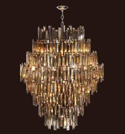 Lustre Candelabro Maria Tereza Milano Cristal Conhaque 28 Lâmpadas E14 40W 123x102cm Mantra 30448 Hall e Entradas