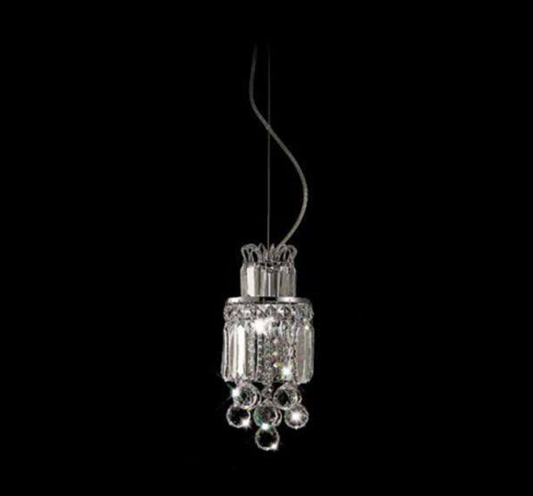 Pendente Anis Vertical Cromado Cristal Transparente 35x16cm Mantra 1 E27 40W Bivolt 2831 Corredores e Salas