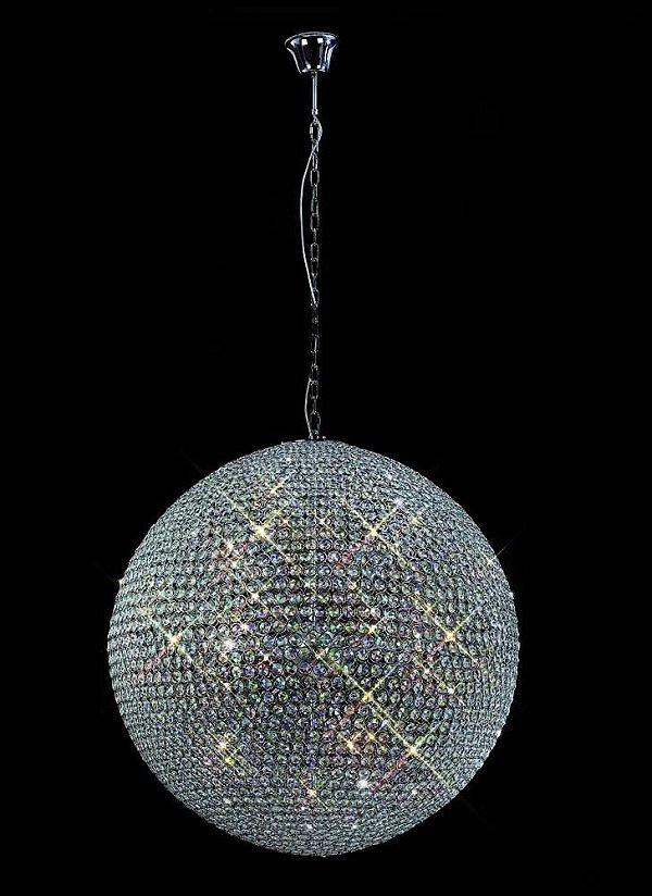 Pendente Ava Vertical Esfera Cromado Cristal 60x60cm Mantra 9 G9 Halopin 40W Bivolt 2878 Salas e Hall