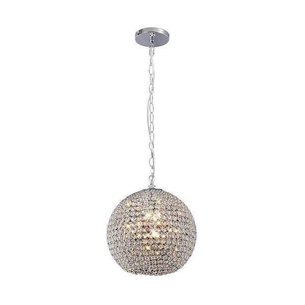 Pendente Ava Vertical Esfera Cromado Cristal 15x15cm Mantra 1 G9 Halopin 40W Bivolt 30022 Salas e Hall