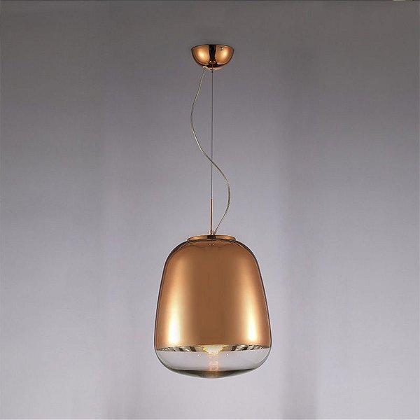 Pendente Zorah Vertical Metal Vidro Bronze 55x33cm Mantra 1 E27 40W Bivolt 30256 Salas e Quartos