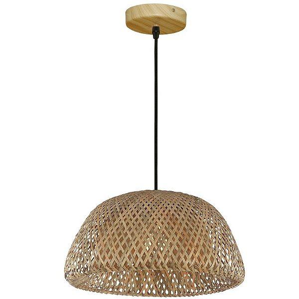 Pendente Pallas Bambu Metal Redondo 30x48cm Mantra 1 E27 24W Bivolt 30359 Cozinhas e Salas