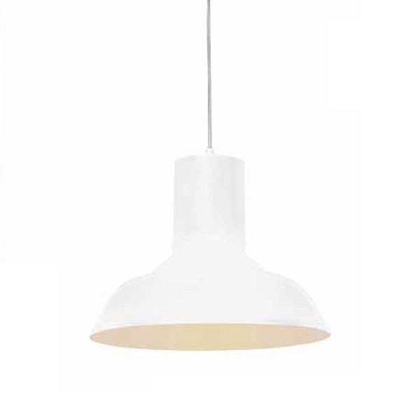 Pendente Shantal Vertical Metal Cupula Vidro Branco 26x28cm Mantra 1 E27 40W Bivolt 30369 Quartos e Salas