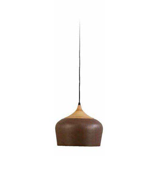 Pendente Karin Vertical Madeira Natural Metal Envelhecido 26x28cm Mantra 1 E27 40W Bivolt 30405 Cozinhas e Salas