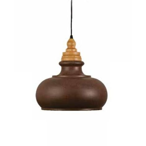 Pendente Karin Vertical Madeira Natural Metal Envelhecido 40x34cm Mantra 1 E27 40W Bivolt 30407 Cozinhas e Salas