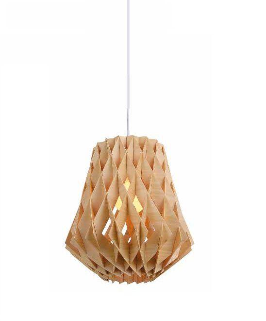 Pendente Opis Vertical Cupula Madeira Natural 42x34cm Mantra 1 E27 40W Bivolt 30414 Salas e Cozinhas