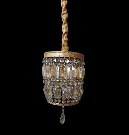Pendente Roma Folha Dourada Cristal Conhaque 43x21cm Mantra 1 G9 Halopin 40W Bivolt 30446 Entradas e Salas
