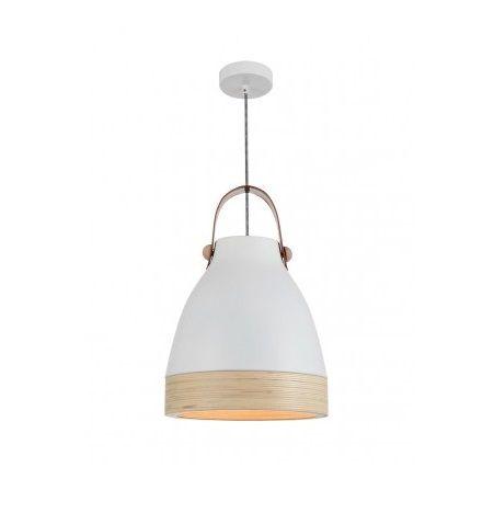 Pendente Sevilha Vertical Madeira Cupula Alumínio Branco 35x24cm Mantra 1 E27 40W Bivolt 30468 Cozinhas e Salas