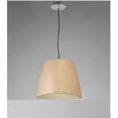 Pendente Triangle Vertical Decorativo Polímero Cor Madeira 33x47cm Mantra 1 E27 23W Bivolt 4821 Entradas e Salas
