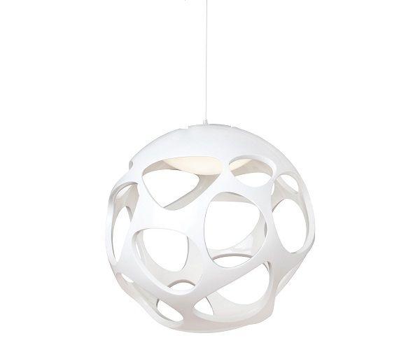 Pendente Organica Esfera Metal Cromado Polímero Branco 27x27cm Mantra 3 E27 20W Bivolt 5144 Entradas e Salas