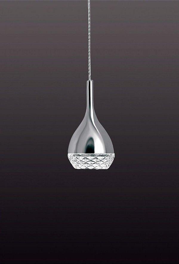 Pendente Khalifa Vertical Cromado Cristal 22,5x12,8cm Mantra 1 GU10 Dicróica 8W Bivolt 5160 Cozinhas e Salas