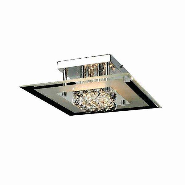 Plafon Atla Quadrado Cromado Cristal Transparente 15x40cm Mantra 4 G9 Halopin 40W Bivolt 2663 Corredores e Entradas