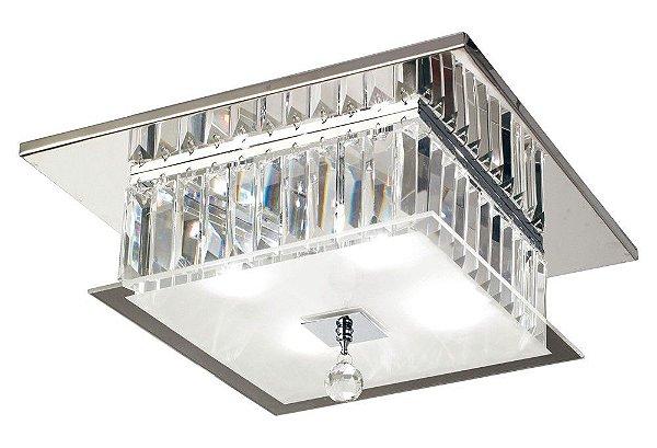 Plafon Torre Quadrado Cromado Cristal Transparente 17x35cm Mantra 4 G9 Halopin 25W Bivolt 2668 Entradas e Corredores