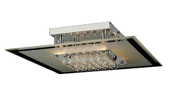 Plafon Atla Quadrado Cromado Cristal Transparente 15x50cm Mantra 6 G9 Halopin 40W Bivolt 2775 Corredores e Entradas