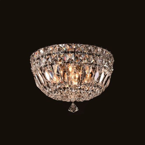 Plafon Bes Metal Cromado Cristal Transparente 15x25cm Mantra 4 G9 Halopin 40W Bivolt 2915 Salas e Entradas
