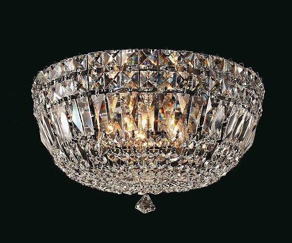 Plafon Bes Metal Cromado Cristal Transparente 17x37cm Mantra 5 G9 Halopin 40W Bivolt 2917 Salas e Entradas