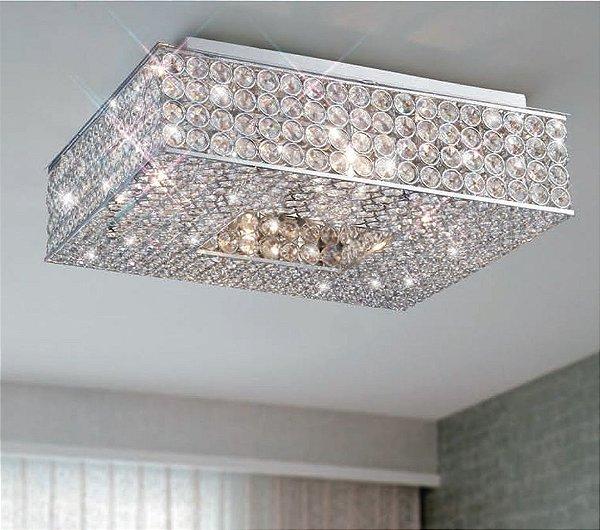 Plafon Piazza Quadrado Metal Cristal Transparente 12x35cm Mantra 12 G9 Halopin 40W Bivolt 30028 Salas e Hall