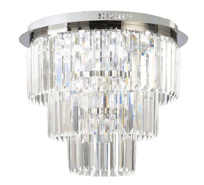 Plafon Tifanny Redondo Cromado Cristal Transparente 45x45cm Mantra 6 G9 Halopin 40W Bivolt 30045 Salas e Hall