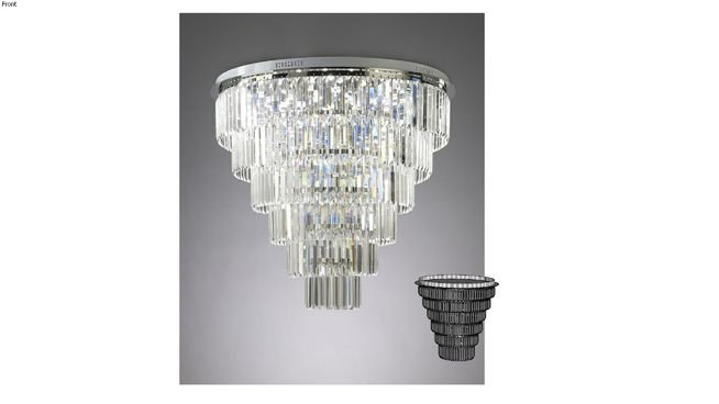 Plafon Tifanny Redondo Cromado Cristal Transparente 80x80cm Mantra 19 G9 Halopin 40W Bivolt 30046 Salas e Hall