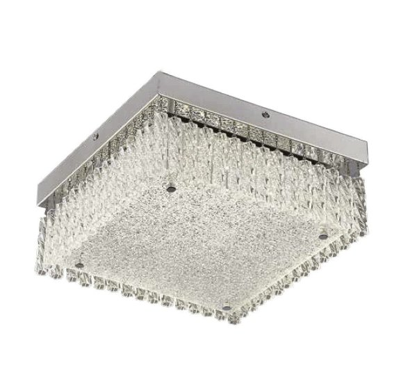 Plafon Helix Quadrado Cromado Cristal Transparente 12x38cm Mantra LED 21W Bivolt 30290 Corredores e Entradas