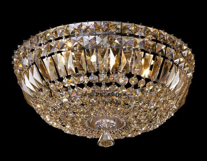 Plafon Bes Metal Cromado Cristal Conhaque 28x55cm Mantra 8 G9 Halopin 40W Bivolt 30380 Salas e Entradas
