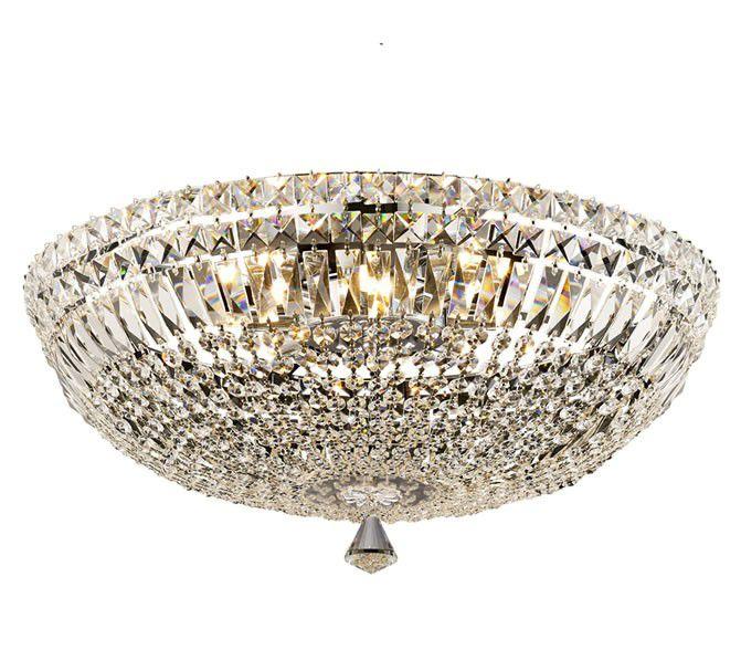 Plafon Bes Metal Cromado Cristal Transparente 28x55cm Mantra 8 G9 Halopin 40W Bivolt 30381 Salas e Entradas