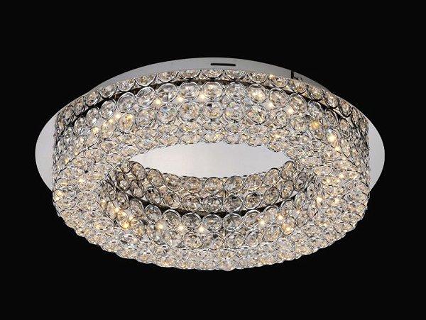 Plafon Lawan LED Redondo Cromado Cristal Transparente 10x39,5cm Mantra LED 18W Bivolt 4583 Entradas e Salas