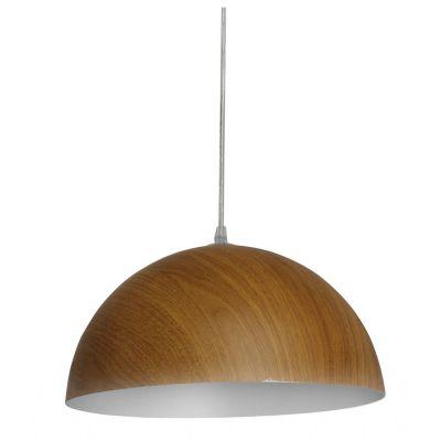 Pendente Foliate Redondo Alumínio Cor Madeira 15x30cm Bella Iluminação 1 E27 Bivolt AD004 Mesas e Salas