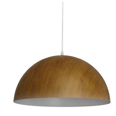 Pendente Foliate Redondo Alumínio Cor Madeira 25x50cm Bella Iluminação 1 E27 Bivolt AD006 Mesas e Salas