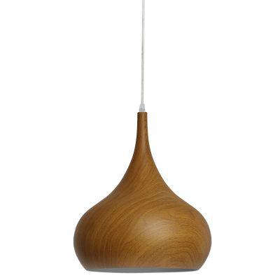 Pendente Foliate Cônico Alumínio Cor Madeira 34,8x29,5cm Bella Iluminação 1 E27 Bivolt AD008 Cozinhas e Salas