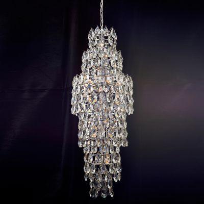Lustre Strauss Redondo Cromado Cristal Transparente 175x50cm Bella Iluminação 8 E14 40w Bivolt AQ002 Salas e Hall