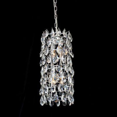 Lustre Strauss Redondo Cromado Cristal Transparente 55x25cm Bella Iluminação 4 E14 40w Bivolt AQ003 Salas e Hall