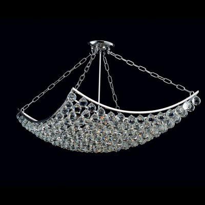 Lustre Eze Metal Cromado Cristal Transparente 60x60cm Bella Iluminação 8 E14 40w Bivolt AQ004L Salas e Hall