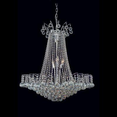 Lustre Orleans Cromado Cristal Transparente 90x75cm Bella Iluminação 13 E14 40W Bivolt AQ005 Salas e Hall