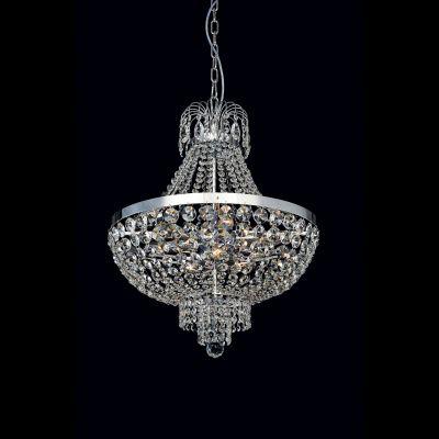 Lustre Metal Cromado Cristal Transparente 73x70cm Bella Iluminação 12 E14 40w Bivolt AQ007L Salas e Hall