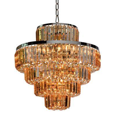 Lustre Dijon Metal Cromado Cristal Ambar 55x70cm Bella Iluminação 15 E14 40w Bivolt AQ009A Hall e Salas