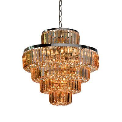 Lustre Dijon Metal Cromado Cristal Ambar 51x54cm Bella Iluminação 9 E14 40w Bivolt AQ009MA Hall e Salas