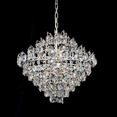 Lustre Strauss Cromado Cristal Transparente 45x53cm Bella Iluminação 6 E14 40w Bivolt AQ014 Salas e Hall