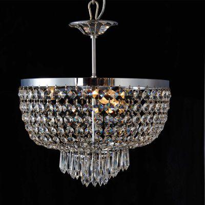 Lustre Reino Imperial Cromado Cristal Transparente 44x40cm Bella Iluminação 3 E14 Bivolt AQ018 Salas e Entradas