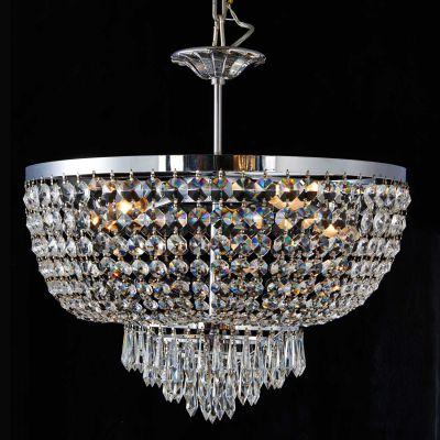 Lustre Reino Imperial Cromado Cristal Transparente 49x50cm Bella Iluminação 5 E14 Bivolt AQ019 Salas e Entradas