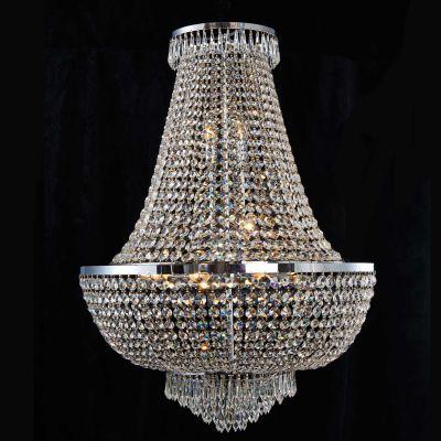 Lustre Imperio Metal Cromado Cristal Transparente 96x70cm Bella Iluminação 12 E14 Bivolt AQ023 Salas e Hall