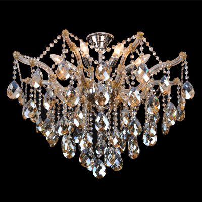 Plafon Teia Aranha Cromado Cristal Champagne 60x70cm Bella Iluminação 8 E14 Bivolt AR001A Entradas e Hall