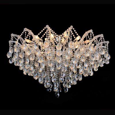 Plafon Teia Aranha Cromado Cristal Transparente 75x120cm Bella Iluminação 24 E14 Bivolt 40w AR003C Entradas e Hall