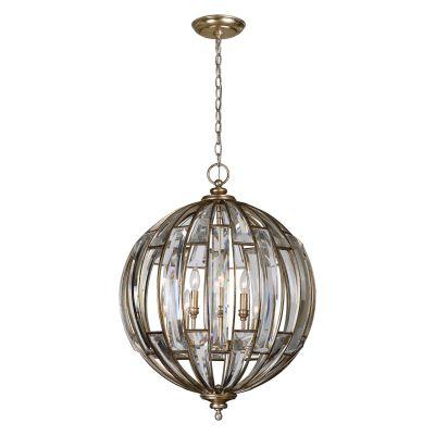Pendente Belle Epoque Esfera Metal Cristal 73x56cm Bella Iluminação 6 E14 40W Bivolt AS003 Salas e Corredores