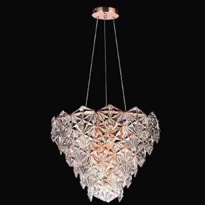Lustre Zara Metal Cobre Vidro Transparente 40x50cm Bella Iluminação 6 E14 Bivolt BM001B Entradas e Hall