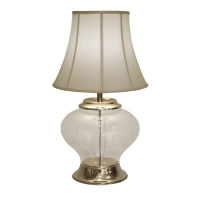 Abajur Delhi Vidro Transparente Metal Cromado 50x33cm Bella Iluminação 1 E27 BAI0034TR Mesas e Salas