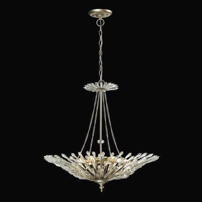 Lustre Deco Vertical Cristal Metal Prata Envelhecido 69x66cm Bella Iluminação 6 E14 Bivolt BO001 Entradas e Hall