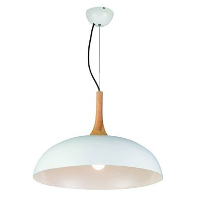 Pendente Tango Redondo Cupula Branco Metal Madeira 36x50cm Bella Iluminação 1 E27 Bivolt BQ003W Cozinhas e Salas
